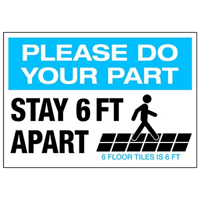 Stay 6 FT Apart Floor Tiles Landscape Decal
