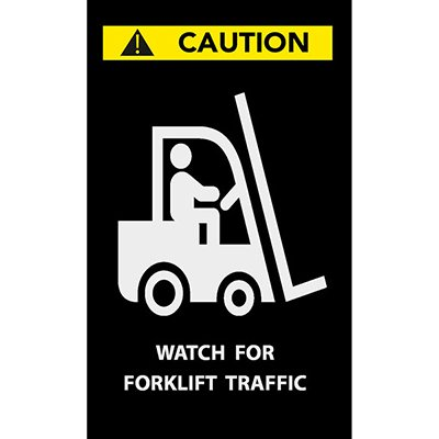 Caution, Watch For Forklift Traffic - Safety Message Mat