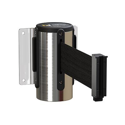 Polished Steel Wall Mount Retractable Belt Barriers