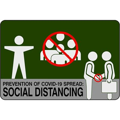 Prevention Of COVID-19 Spread: Social Distancing - Safety Message Mat