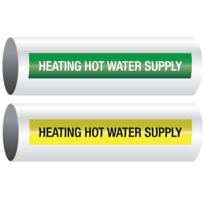 Opti-Code™ Self-Adhesive Pipe Markers - Heating Hot Water Supply
