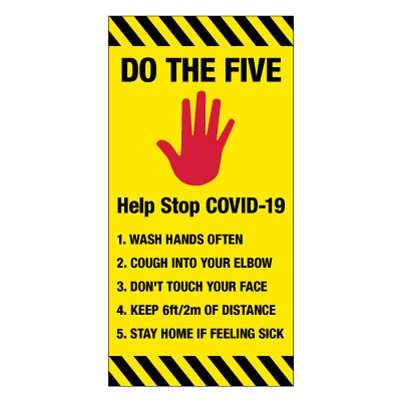 COVID-19 Giant Wall Signs - 5 Steps to Stay Safe