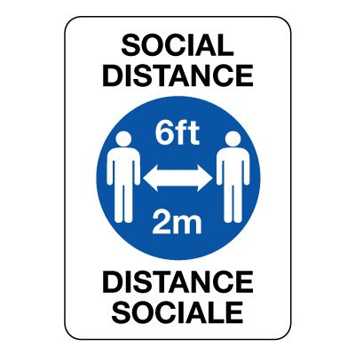 Bilingual Social Distancing 6FT/2M Sign