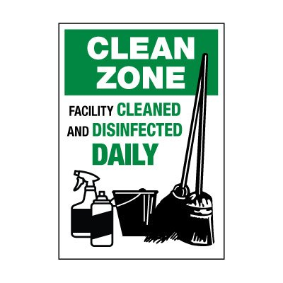 Facility Cleaned & Disinfected Daily Label