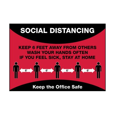Social Distancing Keep the Office Safe Label