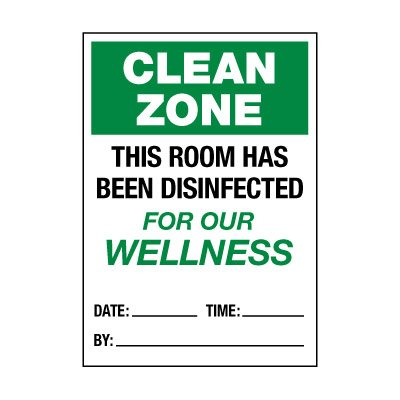 This Room Has Been Disinfected Label