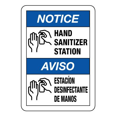 Bilingual Hand Sanitizer Station Sign