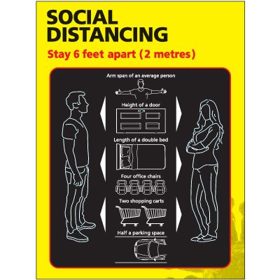 Stay 6 Feet Apart Social Distancing Poster