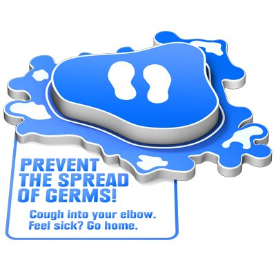 3D Floor Marker - Prevent the Spread of Germs - Blue