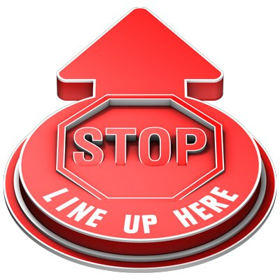 Stop Line Up Here Outdoor 3D Floor Sign - Red
