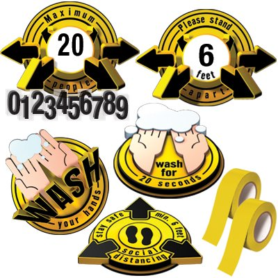 3D Social Distancing Label Kit for Classrooms - Yellow