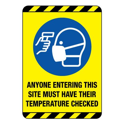 Temperature Check Required Construction Site Sign