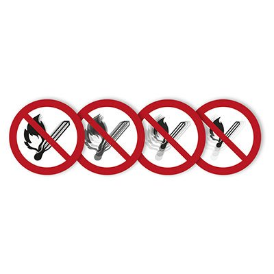 "Seton Motion® Prohibition Sign ""No Fire or Open Flame"""