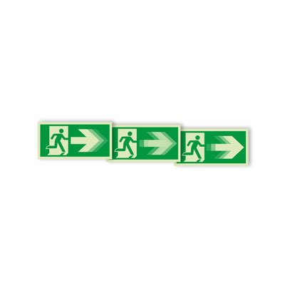 """Seton Motion® Photoluminescent Running Man Escape Route Sign """"Exit Right"""""""