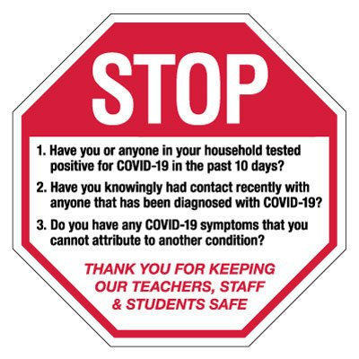 Stop for COVID Screening Sign