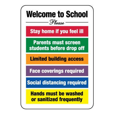 Welcome to School Guidelines Sign