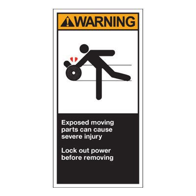 OSHA/ANSI Conveyor Safety Labels - Warning, Exposed Moving Parts