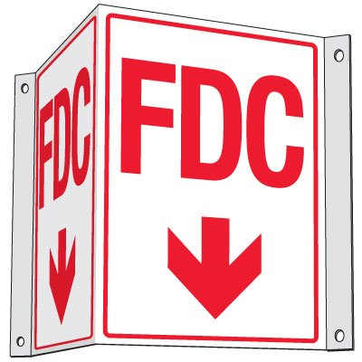 Fire Department Connection Projecting Sign: FDC (With Down Arrow)