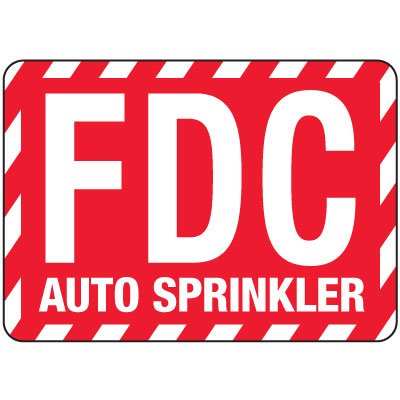 Fire Department Connection Sign: Auto Sprinkler (With Striped Border)