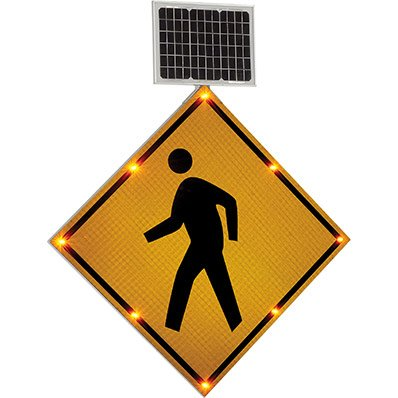 Solar Powered LED Signs - Pedestrian Crossing Sign