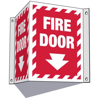3-Way Fire Door Sign (Downward Arrow)