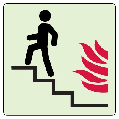 Use Stairs in Case of Fire (Up) Sign