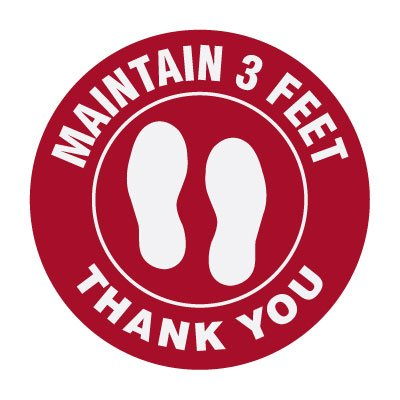 Floor Markers - Maintain 3 Feet - Red