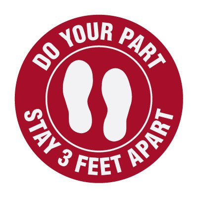 Floor Markers - Stay 3 Feet Apart - Red