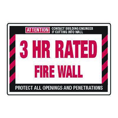 3 Hour Rated Fire Wall - Fire Wall Warning Signs
