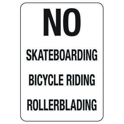 No Skateboarding Bicycle Riding Rollerblading - Restriction Signs
