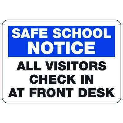 All Visitors Check In At Front Desk - Safe School Notice Signs