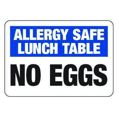 Allergy Safe Lunch Table No Eggs  - School Allergy Signs