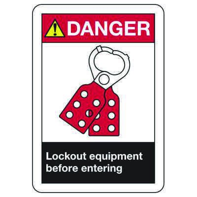 ANSI Safety Signs - Danger Lockout Equipment Before Entering