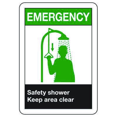 ANSI Signs - Emergency Safety Shower, Keep Area Clear