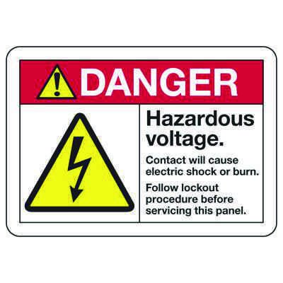 ANSI Z535 Safety Signs - Danger Hazardous Voltage