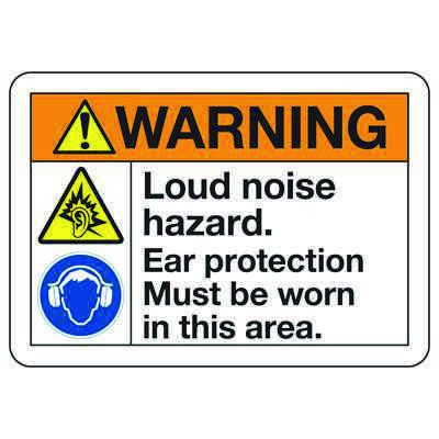 ANSI Z535 Safety Signs - Warning Loud Noise Hazard Wear Ear Protection