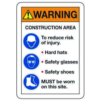 ANSI Z535 Safety Signs - Warning Construction Area Safety Shoes