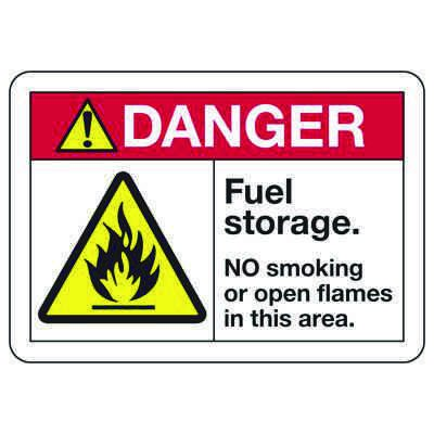 ANSI Z535 Safety Signs - Danger Fuel Storage No Smoking