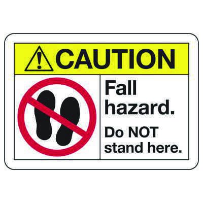 ANSI Z535 Safety Signs - Caution Fall Hazard