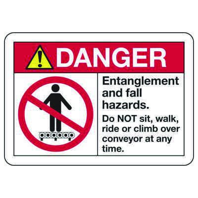 ANSI Z535 Safety Signs - Danger Entanglement And Fall Hazards