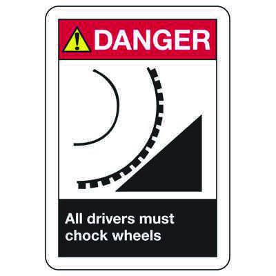 ANSI Z535.2-2011 Safety Signs - Danger All Drivers Must Chock Wheels