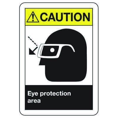 ANSI Z535 Safety Signs - Caution Eye Protection Area