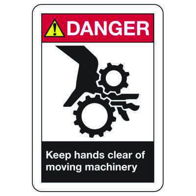 ANSI Z535 Safety Signs - Danger Keep Hand Clear Moving Machinery