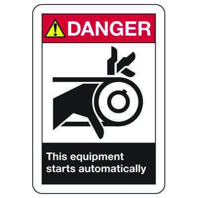 ANSI Z535 Safety Signs - Danger Equipment Starts Automatically