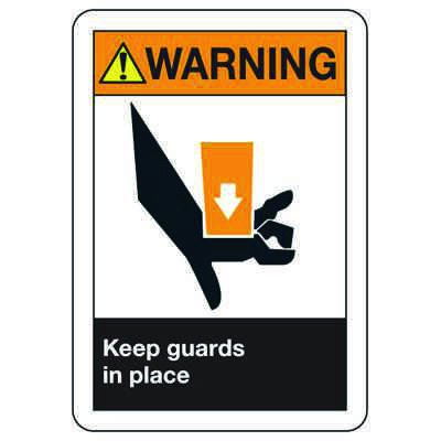 ANSI Z535 Safety Signs - Warning Keep Guards In Place