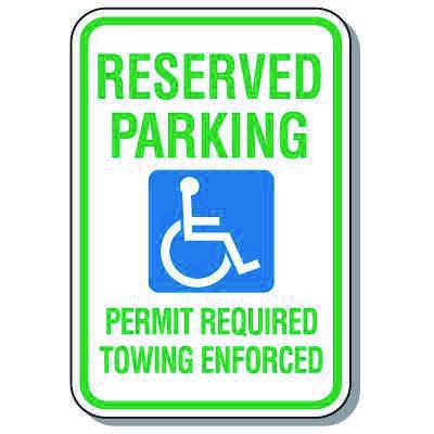 Arkansas State Handicap Signs - Reserved Parking Towing Enforced