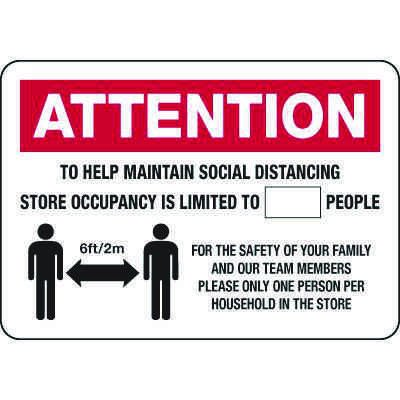 Attention Maximum Occupancy Signs
