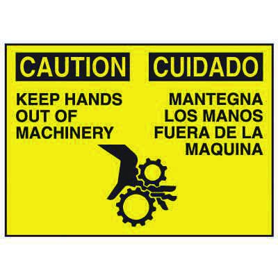 Bilingual Graphic Signs - Caution Keep Hands Out Of Machinery