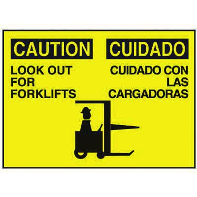 Bilingual Graphic Signs - Caution Look Out For Forklifts