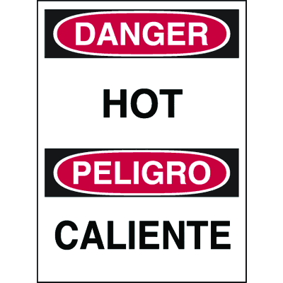 Bilingual Hazard Warning Labels - Danger Hot